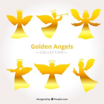 Set de siluetas doradas de ángeles