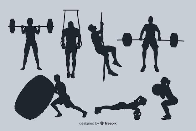 Set de siluetas de hombres y mujeres haciendo crossfit y ejercicio