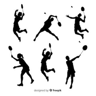 Set de siluetas de jugadores de bádminton
