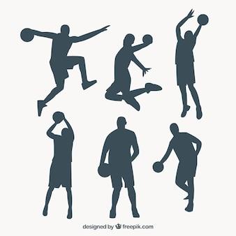 Set de siluetas de jugadores de baloncesto