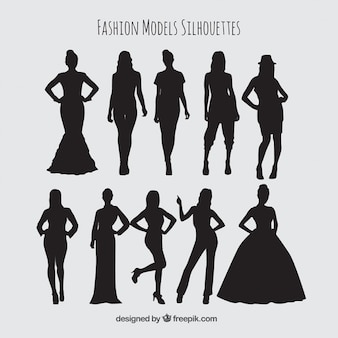 Set de siluetas de mujeres modelos