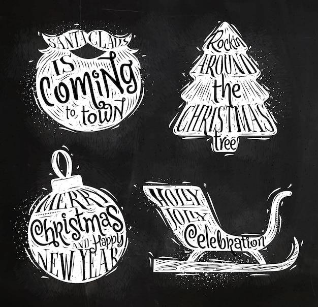 Set de siluetas vintage de navidad con letras