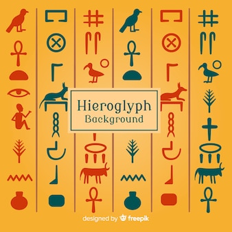 Set de símbolos egipcios en diseño plano