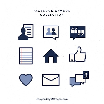Set de símbolos de facebook