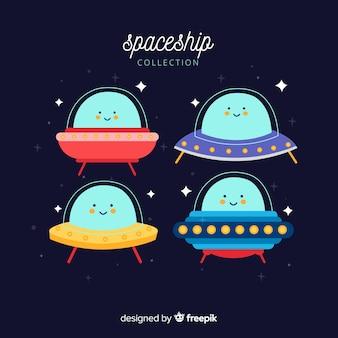 Set de simpáticas naves espaciales