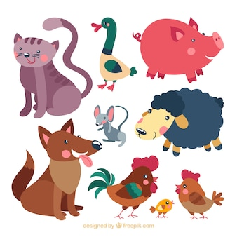 Set de simpáticos animales dibujados a mano