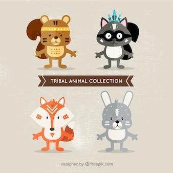 Set de simpáticos animales étnicos en diseño plano