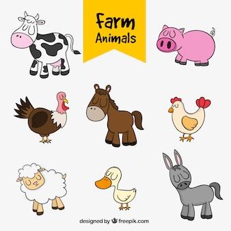 Set de simpáticos animales de granja dibujados a mano