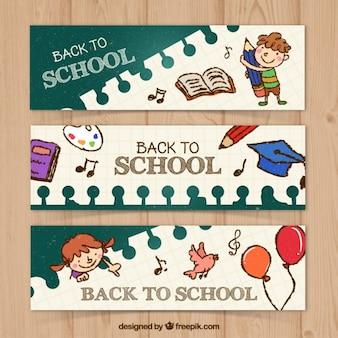 Set de simpáticos banners escolares dibujados a mano