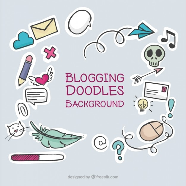 Set de simpáticos elementos de blog dibujados a mano