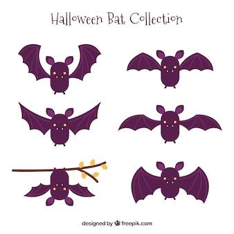 Set de simpáticos murciélagos dibujados a mano