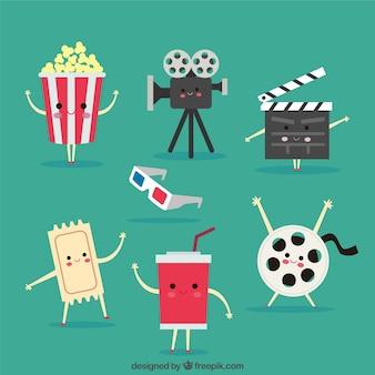 Set de simpáticos objetos de cine animados