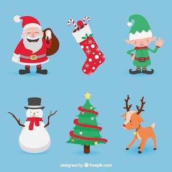 Set de simpáticos personajes navideños