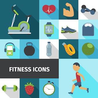 Set de sombra plana de iconos de fitness