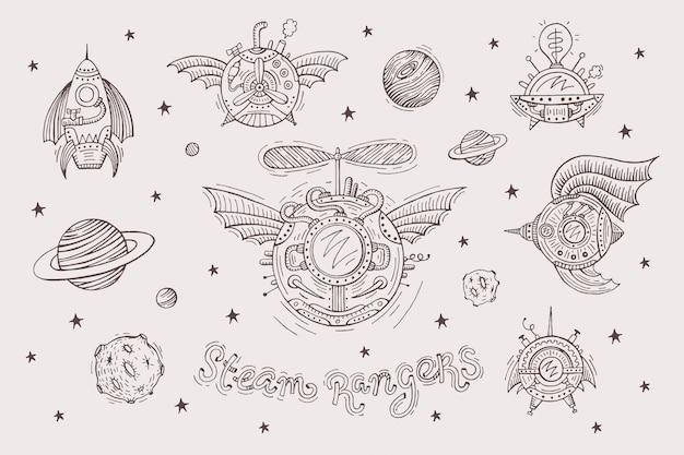 Set steampunk con naves espaciales