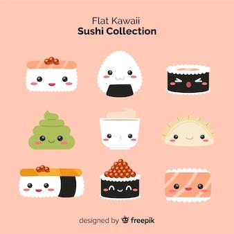 Set de sushi en estilo kawaii