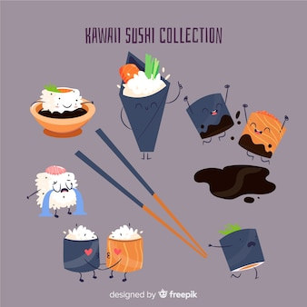 Set de sushi estilo kawaii