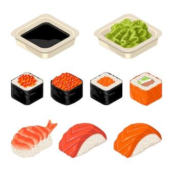 Set sushi roll y nigiri wasabi y salsa de soja en un plato aislado en blanco vector icono plano