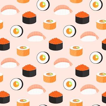 Set de sushi, rollitos con salmón, nigiri con camarones, maki. patrón transparente de comida tradicional japonesa.