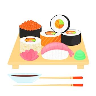 Set de sushi. rollos con caviar de pescado rojo, con salmón, nigiri con camarones. comida tradicional japonesa. salsa de soja, jengibre, wasabi, palillos, plato.