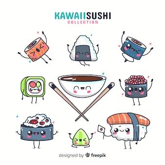 Set de sushis en estilo kawaii