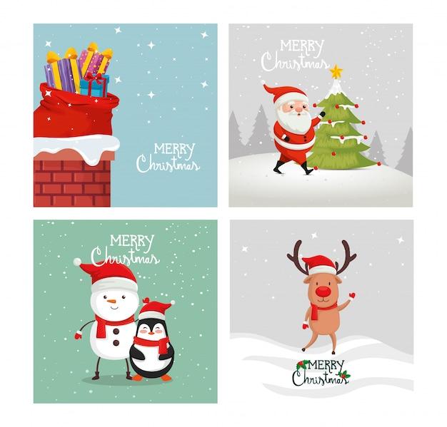 Set tarjeta de feliz navidad y decoracion