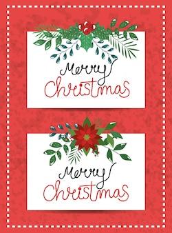 Set tarjeta feliz navidad con flores y hojas