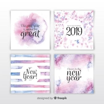 Set de tarjetas de año nuevo 2019 en acuarela