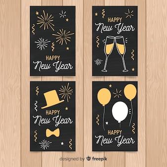 Set de tarjetas de año nuevo 2019 dibujadas a mano