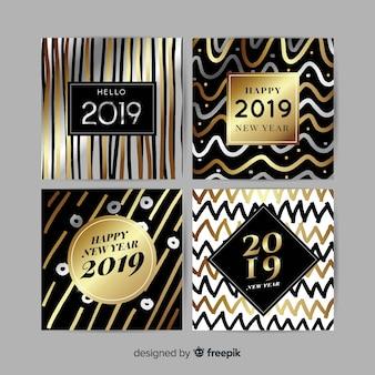 Set de tarjetas de año nuevo 2019 doradas y plateadas