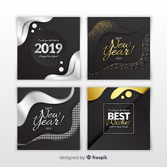 Set de tarjetas de año nuevo 2019 plateadas y doradas