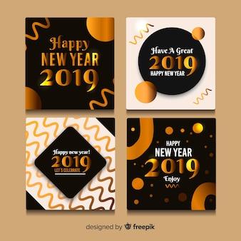 Set de tarjetas de año nuevo 2019
