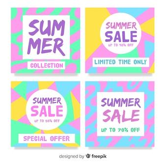 Set de tarjetas coloridas de rebajas veraniegas