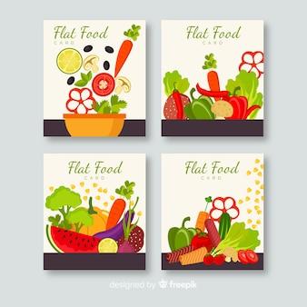 Set tarjetas comida deliciosa dibujada a mano