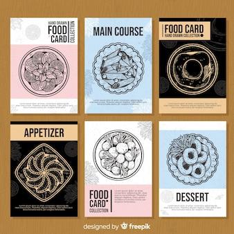 Set tarjetas comida dibujada a mano
