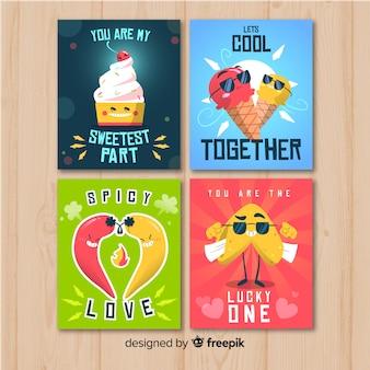 Set tarjetas comida dibujadas a mano