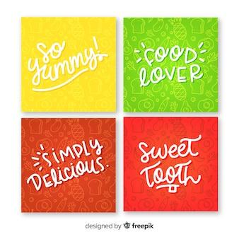 Set tarjetas comida lettering