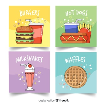 Set tarjetas comida rápida dibujos animados