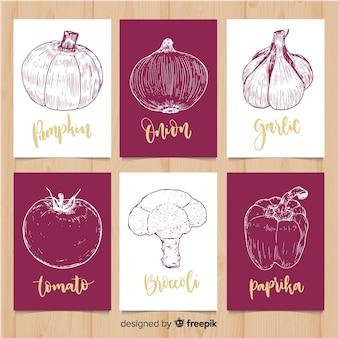 Set tarjetas comida verduras dibujadas a mano