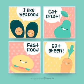Set de tarjetas de comida