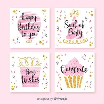 Set de tarjetas de cumpleaños en acuarela