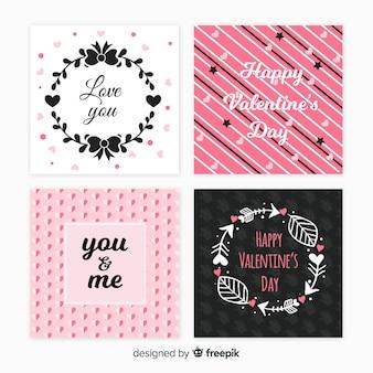 Set de tarjetas del día de san valentín