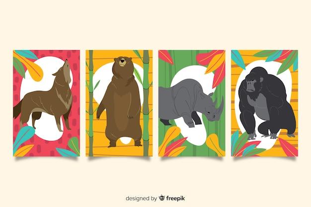 Set de tarjetas dibujadas de animales salvajes