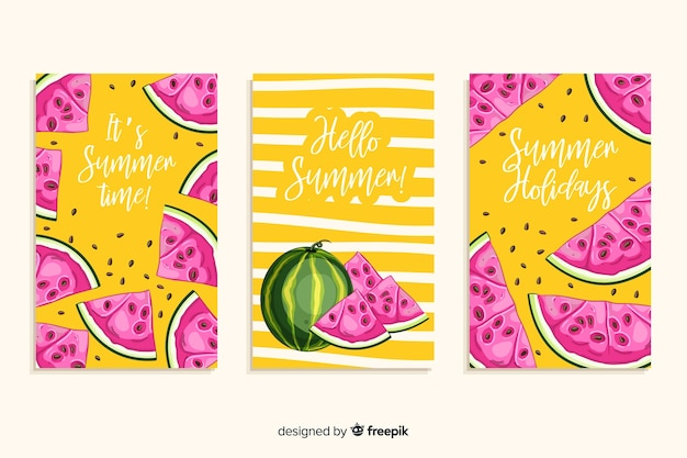 Set de tarjetas dibujadas de verano