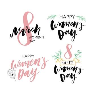 Set de tarjetas de felicitación del día internacional de la mujer.