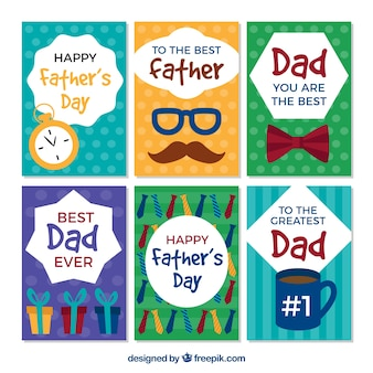Set de tarjetas de felicitación del día del padre en diseño plano