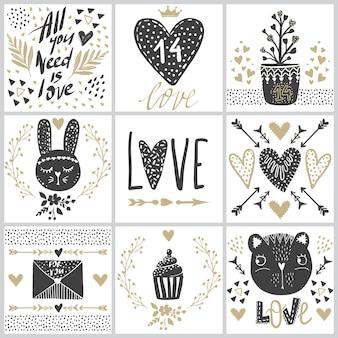 Set con tarjetas de felicitación en el día de san valentín.