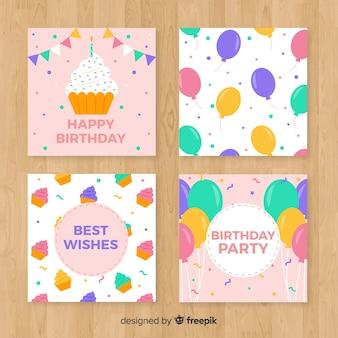 Set de tarjetas de feliz cumpleaños