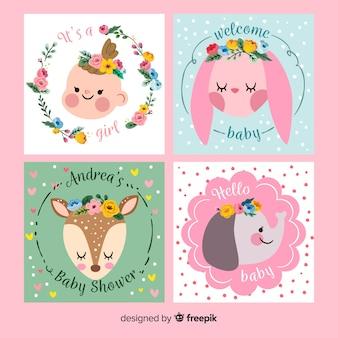Set de tarjetas de invitación a baby shower