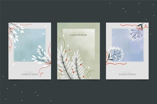 Set de tarjetas de navidad en acuarela